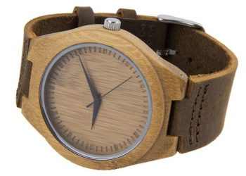 Wooden unisex leather watch