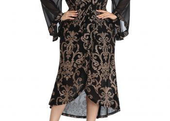 2020 Abaya Long Women's Butterfly Flare Sleeve Plus Large Size Elegant Fashion Split Mesh